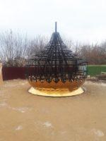 Освящение и поднятие купола с крестом на месте строящегося храмам во имя св. равноапостольного великого князя Владимира  г. Карасука