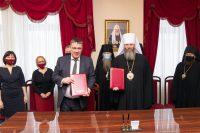 Епископ Филипп принял участие в подписании соглашения о сотрудничестве между Новосибирской митрополией и Министерством образования Новосибирской области
